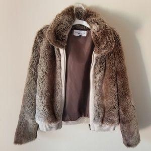 Sanctuary Brown Faux Fur Bomber Jacket